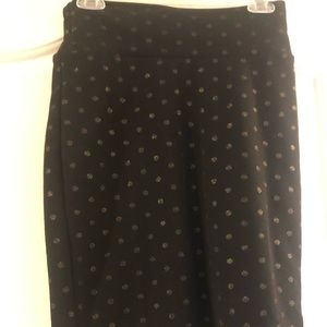 LulaRoe skirt black and gold polka dot